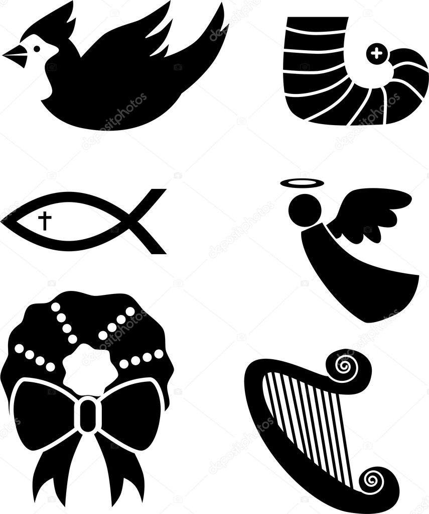 Set of 6 holiday icons in black. — Stock Vector #4010028