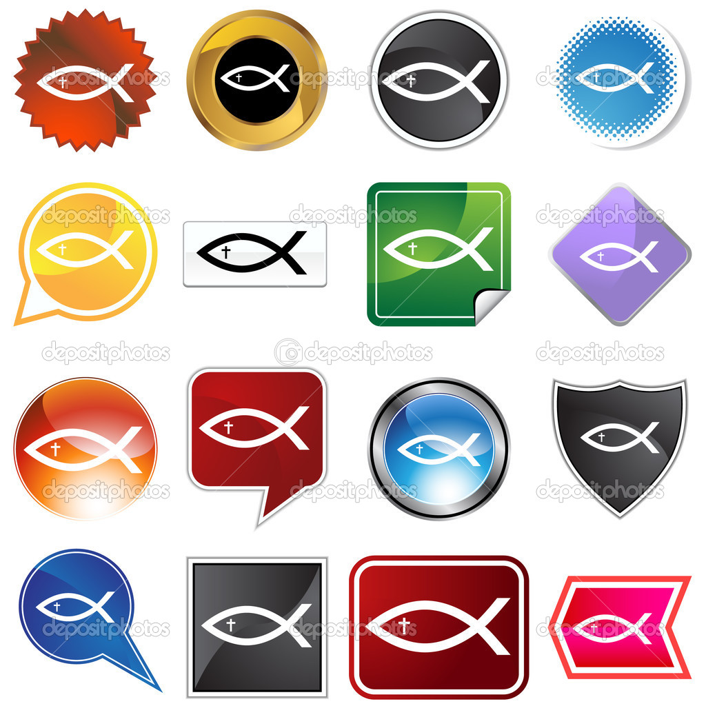 A set of 16 icon buttons in different shapes and colors - religious fish. — Stock Vector #4010050