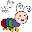 Caterpillar Cartoon Bugs — Vettoriali Stock