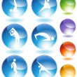 Yoga kristal Icon set — Stok Vektör