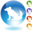 Dog Crystal Icon — Stock Vector