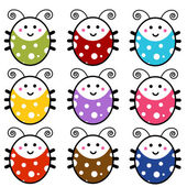 Cute Cartoon Ladybug Set — Stock Vector