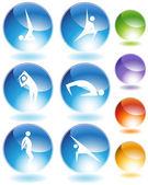 Yoga kristal Icon set — Stok Vektör