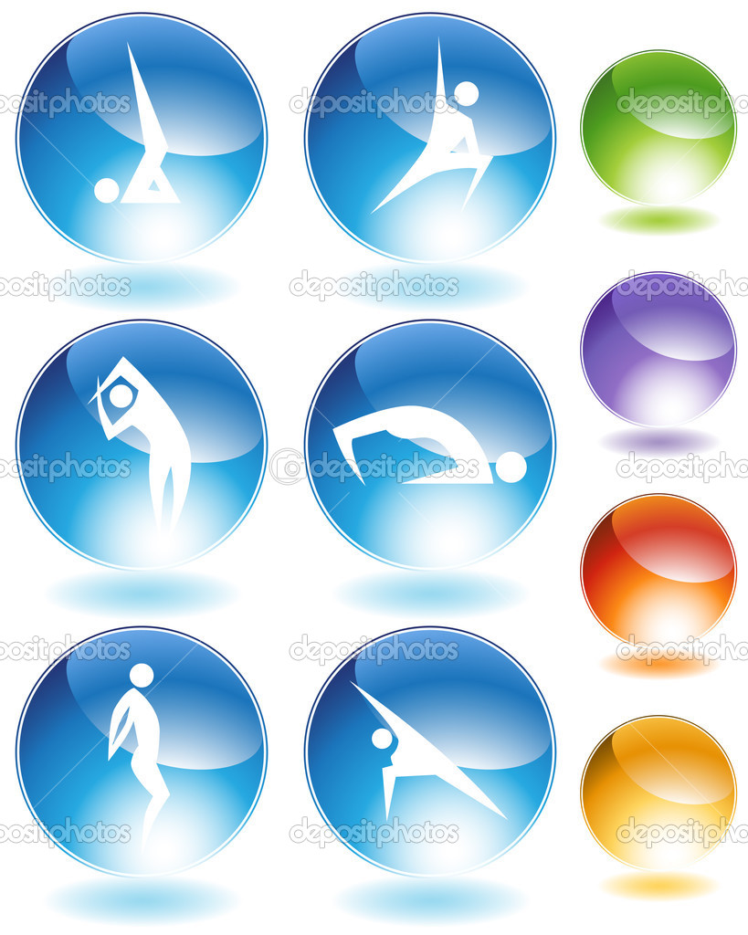 Yoga crystal icon set isolated on a white background.  Stock Vector #4023725