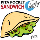 Pita Pocket Sandwich — Stock Vector