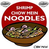 Shrimp Chow Mein Noodles — Stock Vector