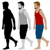 Walking Man Set — Stock Vector