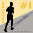 Stock Vector: Marathon Runner Number One