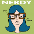 Stock Vector: Nerdy Girl With Glasses