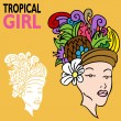 Tropical Girl with Fruit Hat — Stock Vector