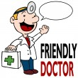 Friendly Doctor Holding Medical Kit — Vector de stock #4235598