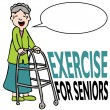 Exercising Senior Lady with Walker — Stock Vector