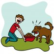 Man Feeding Dog Food — Stock Vector