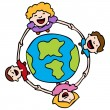 Holding Hands Around The Earth — Stock Vector #4235617