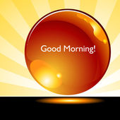 Good Morning Sunrise Background Button — Stock Vector