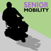 Elderly Senior Man Riding Scooter — Stock Vector