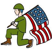 Veteran Soldier — Stock Vector