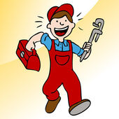 Running Plumber With Wrench and Toolbox — Stock Vector