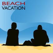 Couple Beach Vacation — Stock Vector