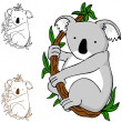 Koala on Branch - Stock Vector