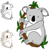 Koala on Branch — Stock Vector