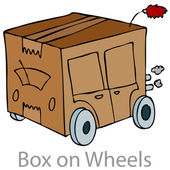 Box on Wheels — Stock Vector