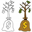 Sapling Money Tree — Stock Vector