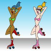 Rollerskating Girls — Stock Vector