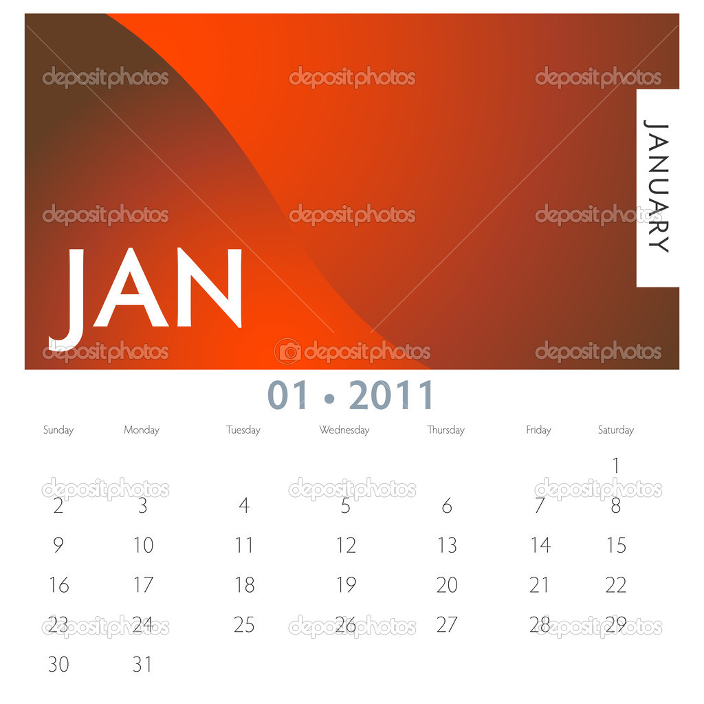 An image of a 2011 January calendar. — Stock Vector #4654488