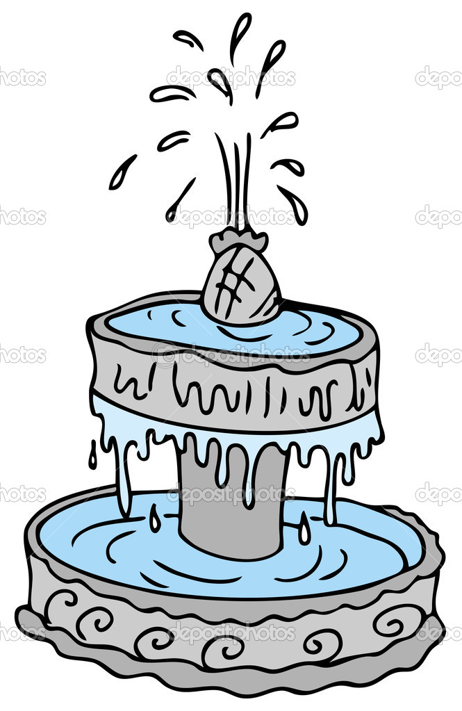 An image of a cartoon water fountain. — Stock Vector #4654526