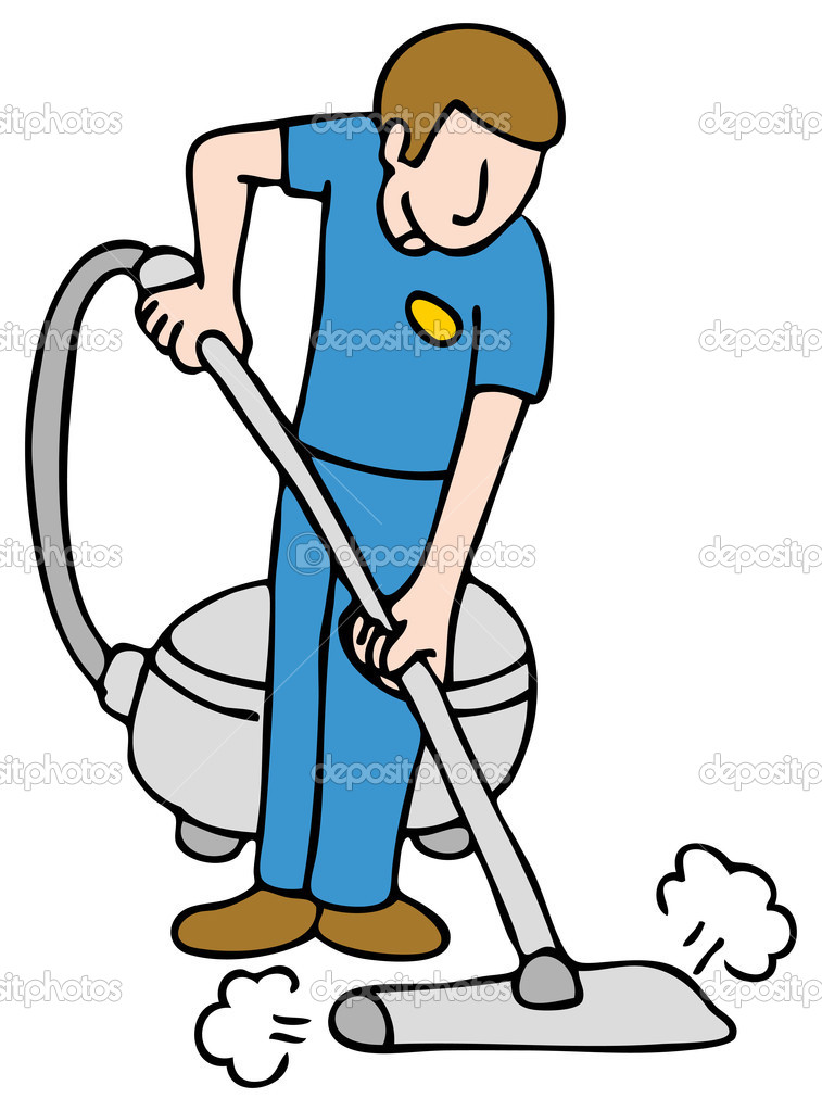 An image of a man using a carpet cleaning machine.  Stock Vector #4654532