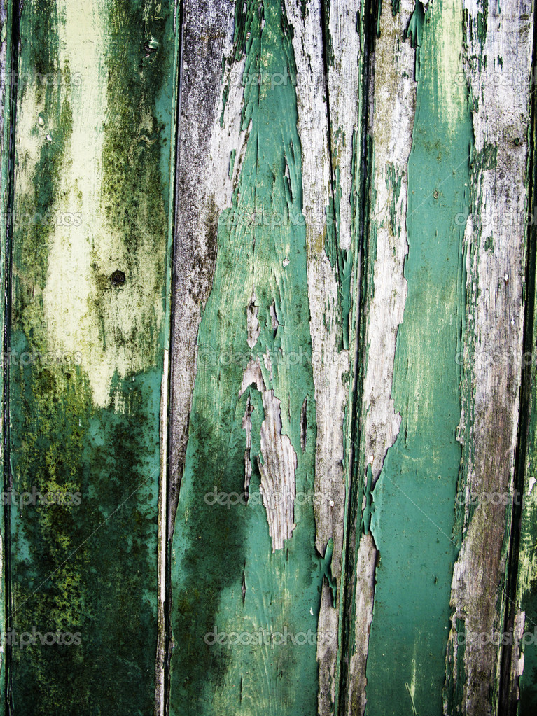 Old worn down and peeling away green painted wooden fence panel  Stock Photo #4034300