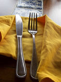 Ustensil on napkin — Stock Photo