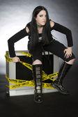 Goth on tv — Stock Photo
