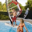 Windsurfer in pool — Stock Photo