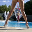 Windsurfer in pool - Stock Photo