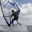 Windsurfer flipping — Stock Photo