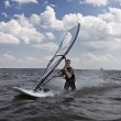 Windsurfer body drag — Stock Photo