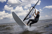 Windsurfer breaking — Stock Photo