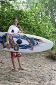 Windsurfer shaka salute — Stock Photo