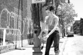 Playing with fire hydrant — Stock Photo