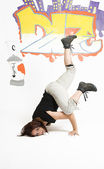 Woman breakdancing — Stock Photo