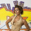 Stock Photo: Graffiti fashion model