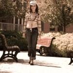Girl walking in park — Stock Photo #4361946