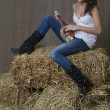 Country musician girl - Stock Photo