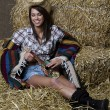 Chilling cowgirl — Stock Photo