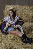 Kylning cowgirl — Stockfoto