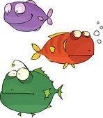 Vector set of three funny fish