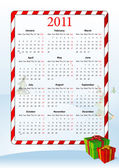 Vector illustration of European calendar 2011 with gift boxes starting from Mondays
