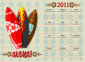 American Aloha vector calendar 2011 with surf boards starting from Sundays